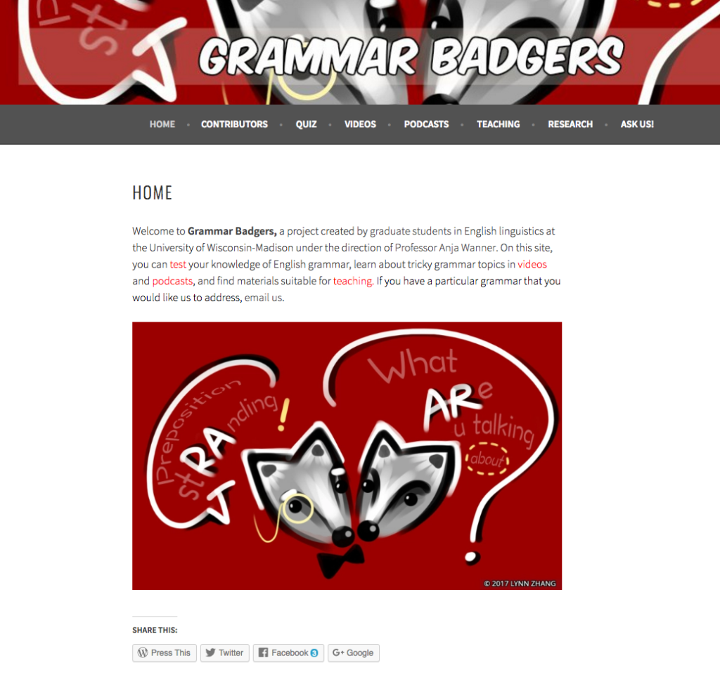 Grammar Badger Website (Screenshot)